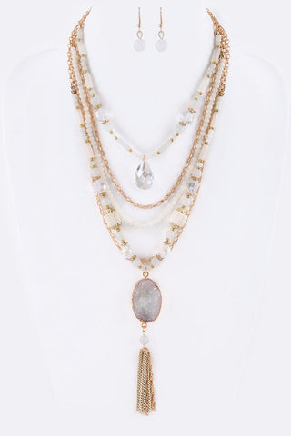 Beaded Layered Necklace and Earring Set