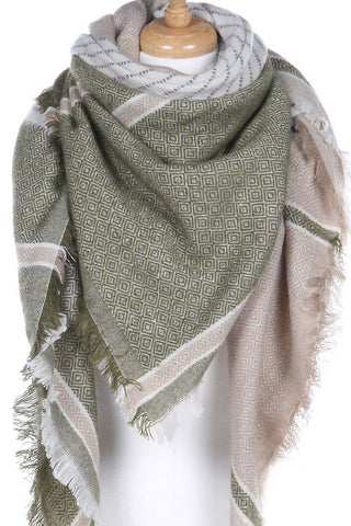 Green and Beige Blanket Scarf