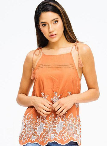 Burnt Orange Tassel Tank