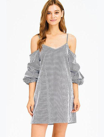 Striped Dress with Ruched Sleeves