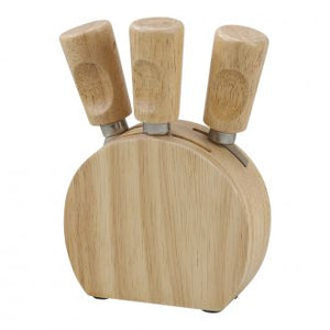 Wood Cheese Block W/3 Wood Handle Utensils