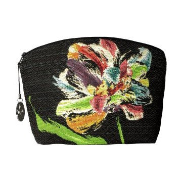Purse Multicoloured tulips on a black background