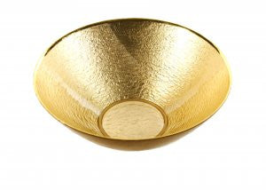 "Glamour Authentic Gold Leaf Decor 12"" Glass Bowl"