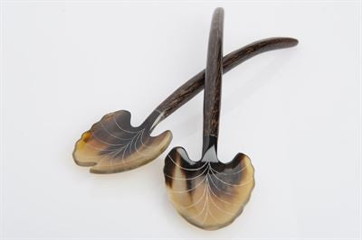 Serengeti Salad Servers, Horn and Palm Wood