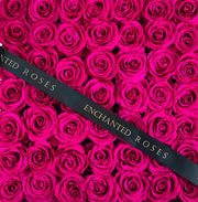 Large Classic Black Square Box - Ruby Pink Roses