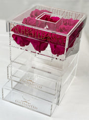 Allure Collection Acrylic Makeup Box - Pink Ruby Roses