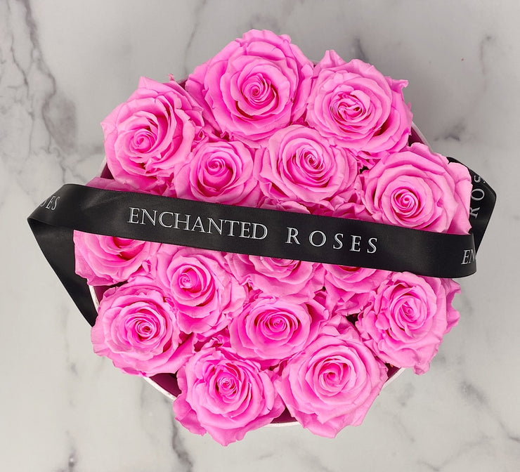 Medium Classic White Round Box  - Bright Pink Roses