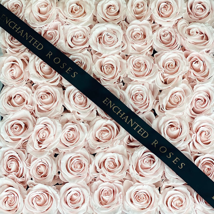 Large Classic Black Square Box - Sweet Pink Roses