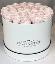 Large Classic White Round Box - Sweet Pink Roses