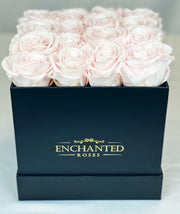Small Classic Black Square Box - Sweet Pink Roses