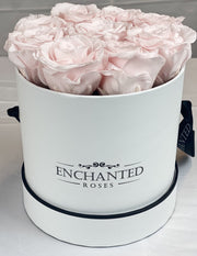 Small Classic White Round Box - Sweet Pink Roses