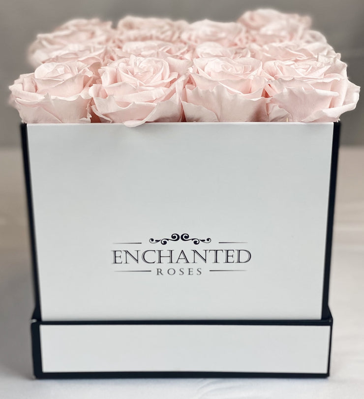 Small Classic White Square Box - Sweet Pink Roses