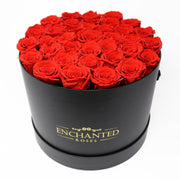 Large Classic Black Round Box - Red Roses