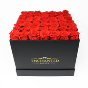 Large Classic Black Square Box - Red Roses