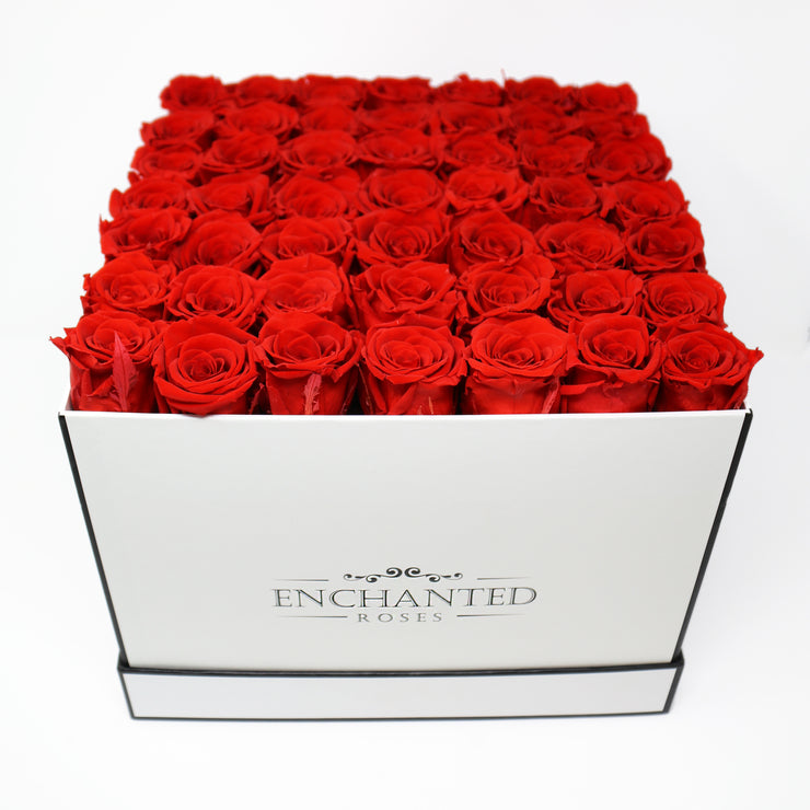 Large Classic White Square Box - Red Roses