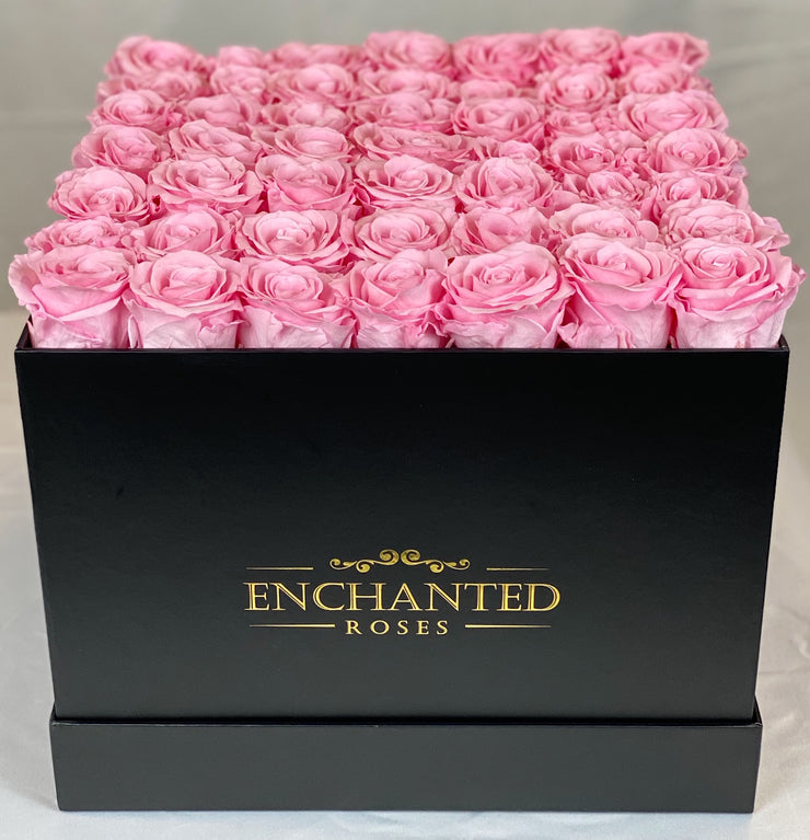 Large Classic Black Square Box - Sakura Pink Roses