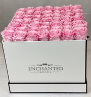 Large Classic White Square Box - Sakura Pink Roses