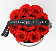 Small Classic White Round Box - Red Roses