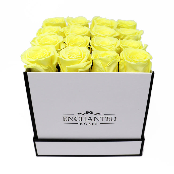 Small Classic White Square Box - Bright Yellow Roses