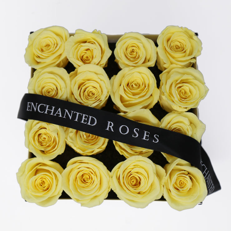 Small Classic White Square Box - Light Yellow Roses