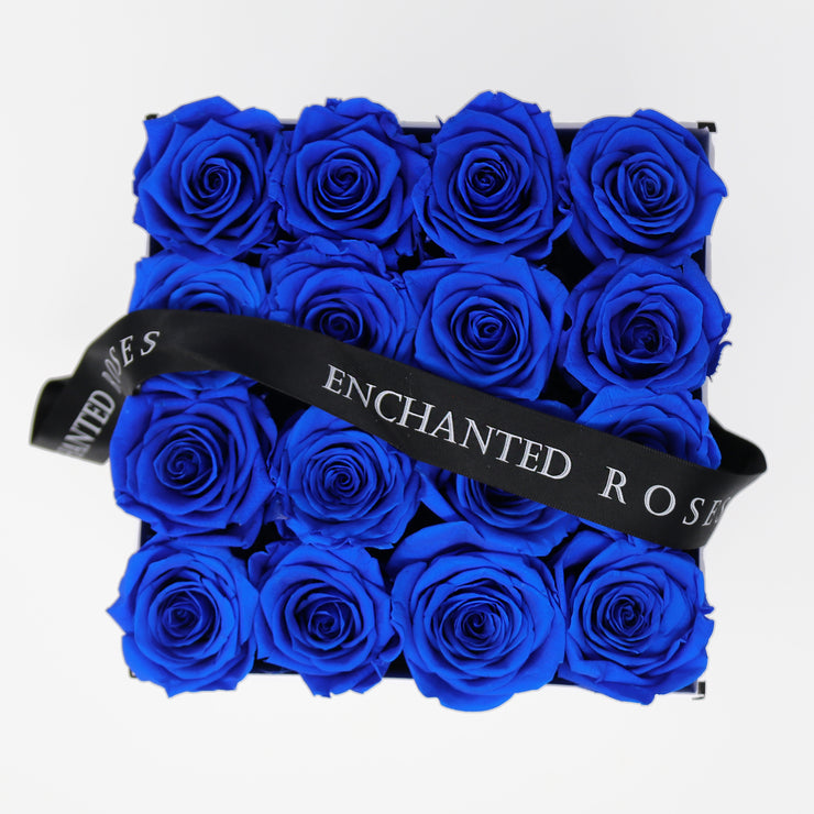 Small Classic White Square Box - Royal Blue Roses