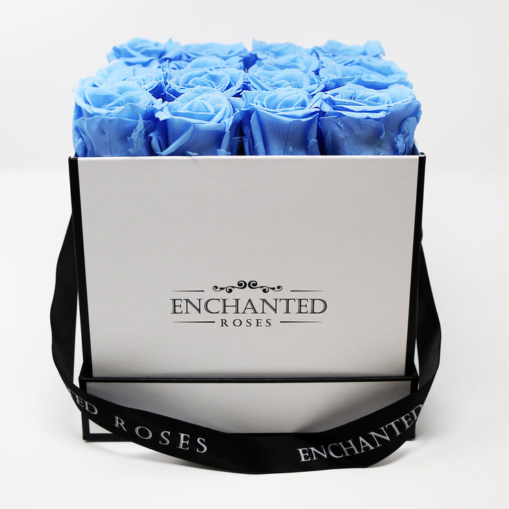 Small Classic White Square Box - Sky Blue Roses