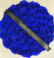 Large Classic Black Round Box - Royal Blue Roses