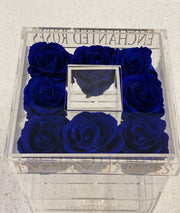 Allure Collection Acrylic Makeup Box - Royal Blue Roses