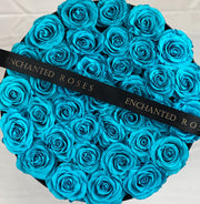 Large Classic Black Round Box - Tiffany Blue Roses