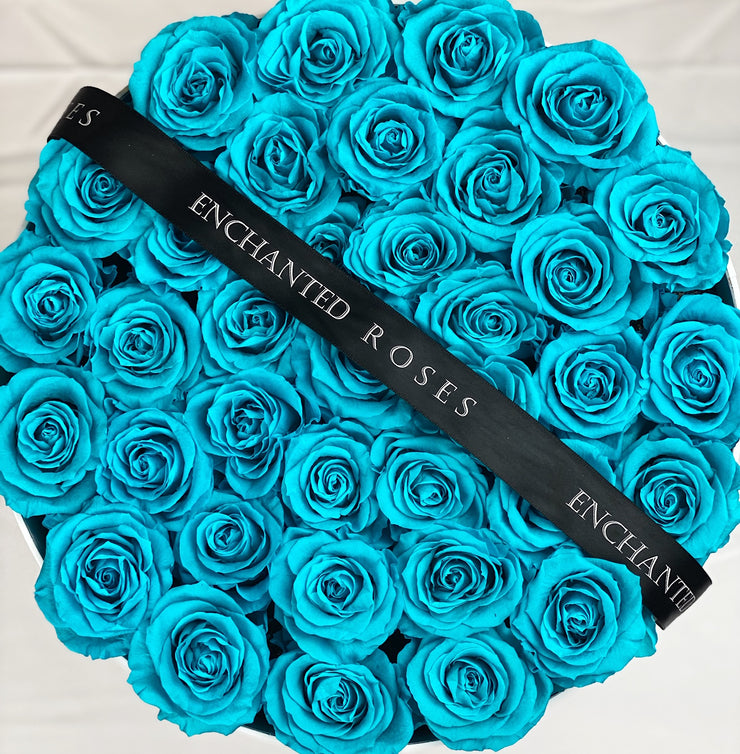 Large Classic White Round Box - Tiffany Blue Roses