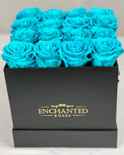 Small Classic Black Square Box - Tiffany Blue