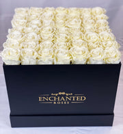 Large Classic Black Square Box - White Roses