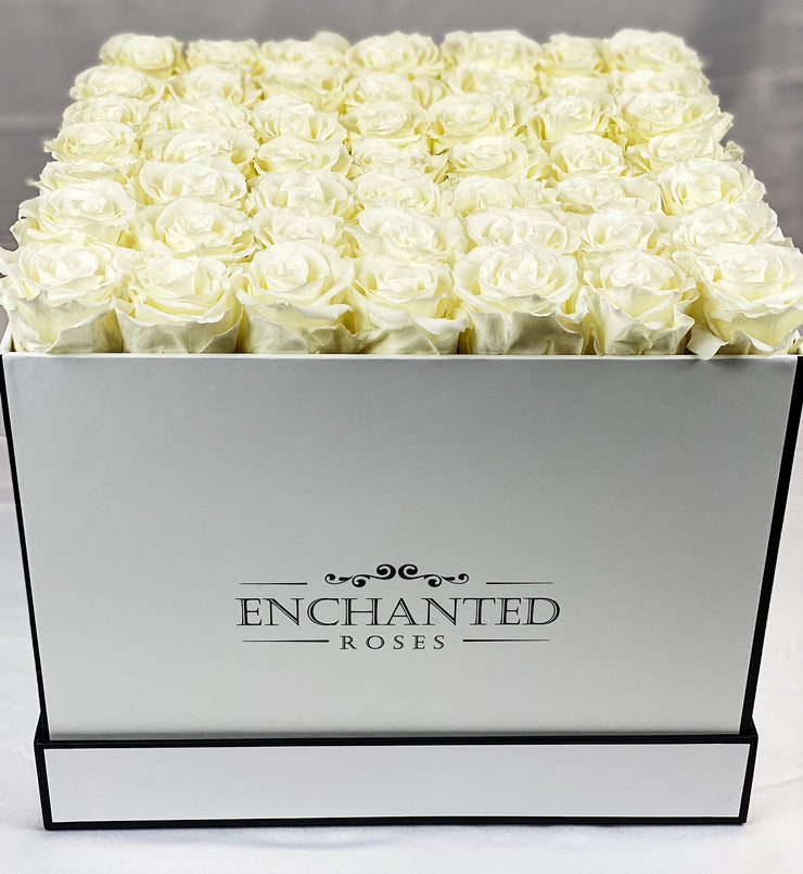 Large Classic White Square Box - White Roses