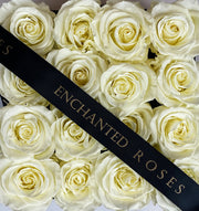 Small Classic Black Square Box - White Roses