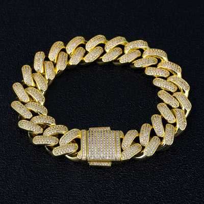 18mm 14K Gold Iced Out Cuban Link Bracelet