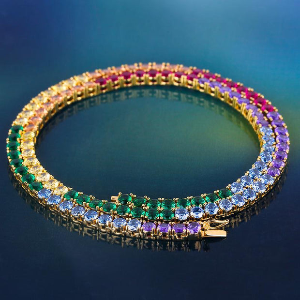 4mm 14K Gold Single Row Iced Out Spectrum Rainbow Tennis Chain