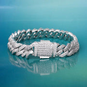 10mm 14K Gold & White Gold Iced Out Diamond-Cut Cuban Link Bracelet