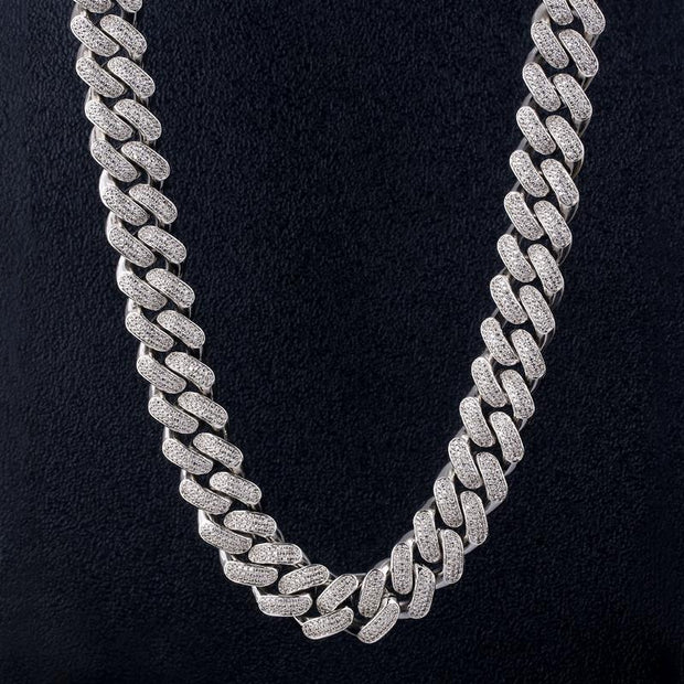 18mm 14K Gold & White Gold Iced Out Diamond Cut Cuban Link Chain
