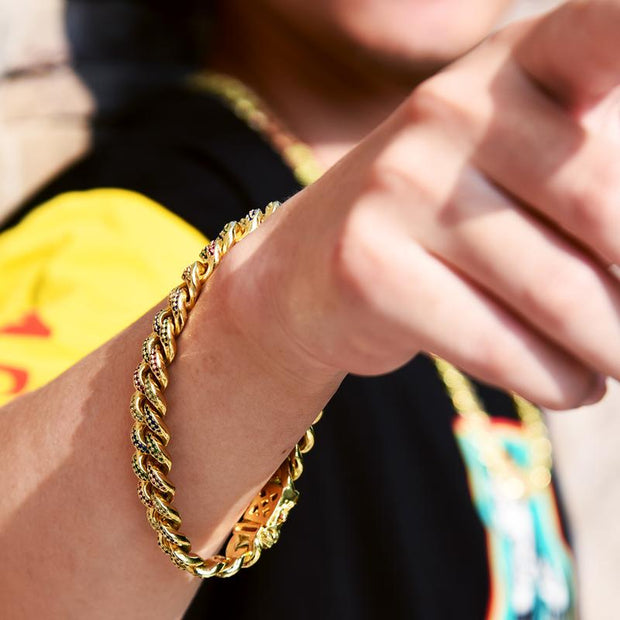 12mm 14K Gold & Multicolored Iced Out Cuban Link Bracelet