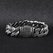 12mm Black Iced Out Cuban Link Bracelet