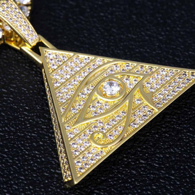 Iced Eye of Horus Pyramid Pendant in 14K Gold