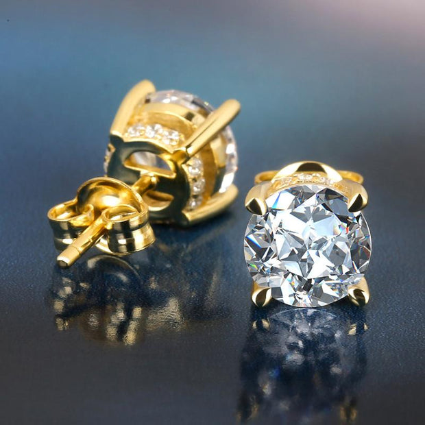 14K Gold Brilliant 925 Sterling Silver Round CZ Stud Earrings
