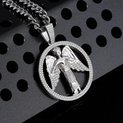 Round Shape Iced Angel Wing Pendant in 925 Sterling Silver