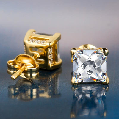 14K Gold Princess Brilliant 925 Sterling Silver Stud Earrings