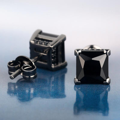 Black Gold 925 Sterling Silver Black CZ Stud Earrings