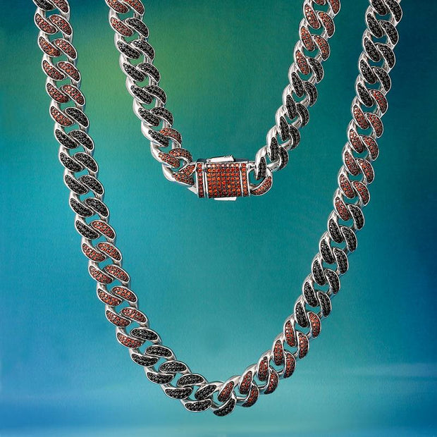 12mm Black Iced Out Miami Cuban Link Chain