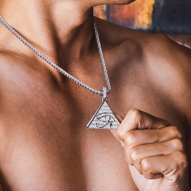 Iced Eye of Horus Pyramid Pendant in White Gold