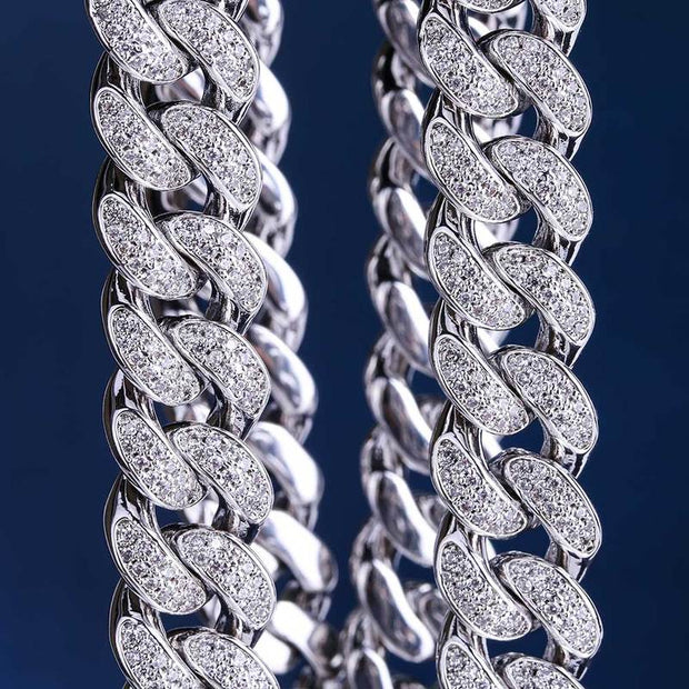 12mm 14k  Gold & White Gold CZ Iced Out Miami Cuban Chain