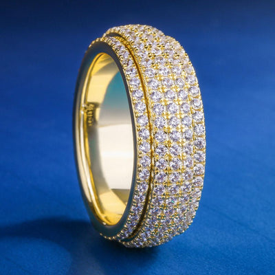 Iced Mens Rotating Ring in 14K Gold