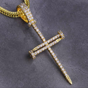 14K Gold Ice Mens Nail Cross Pendant